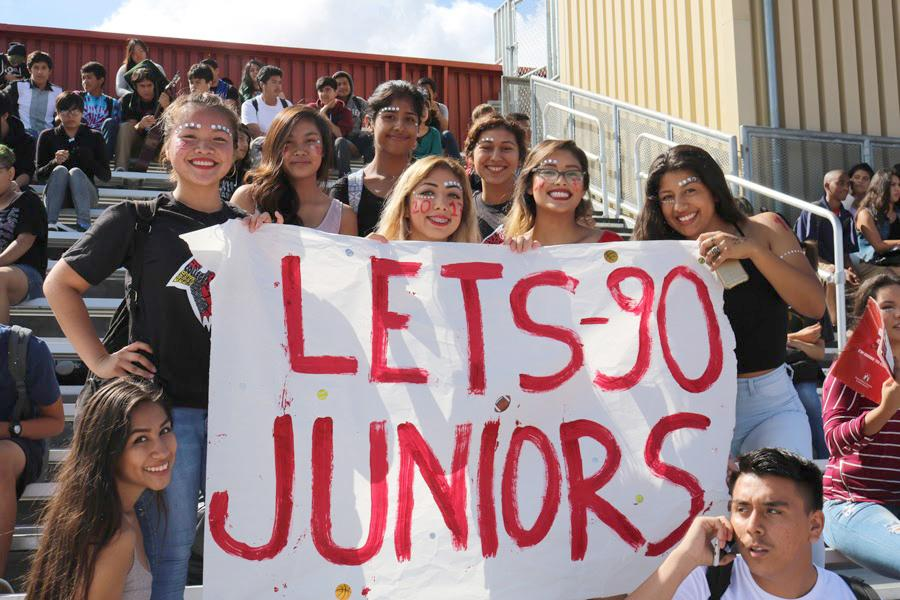 The class of 2017 shows their support towards their fellow juniors prior to the Homecoming performance.