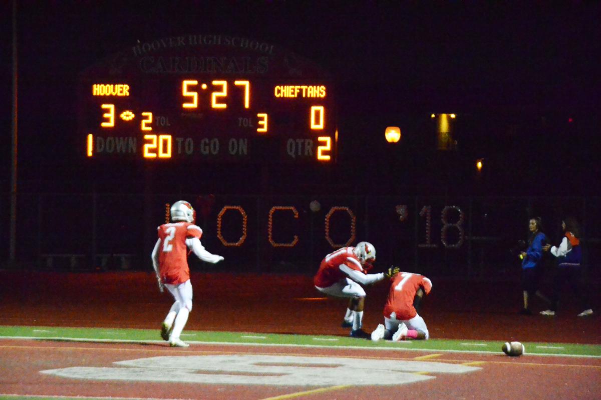 Junior Derrick McCullough scores a touchdown in the second quarter bringing the score against Clairemont, 9-0.