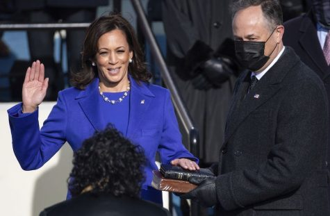 Vice President Kamala Harris was sworn in by Chief Justice Sonia Sotomayor, as her husband Doug Emhoff holds her personal Bible.